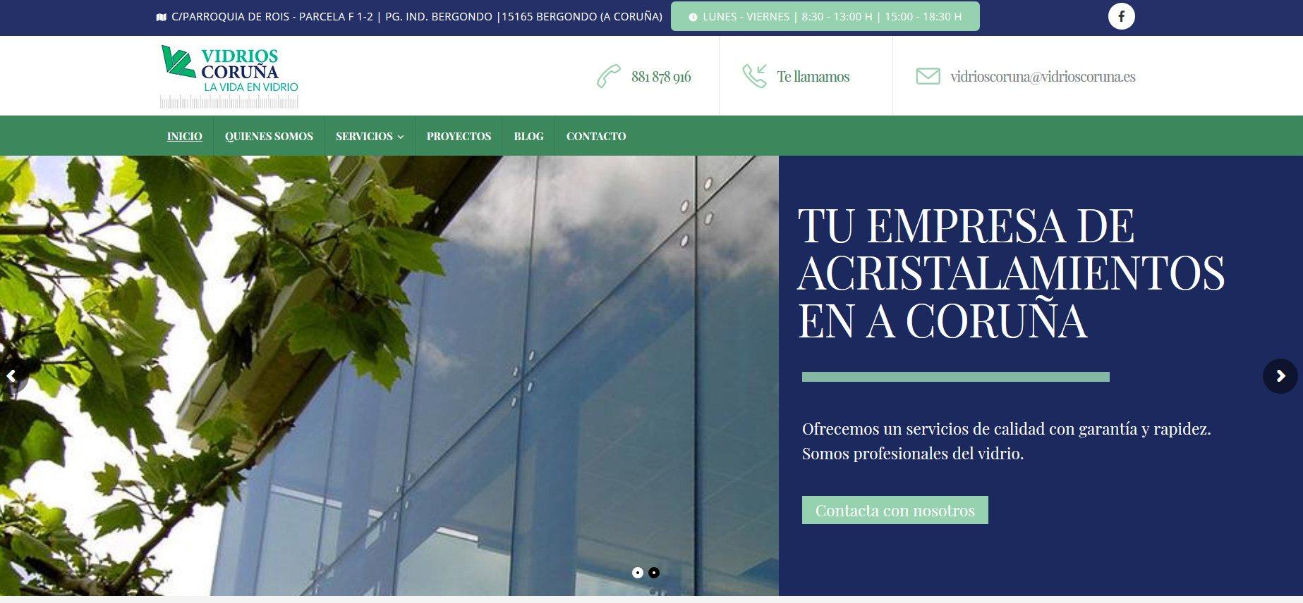 Nueva web de Vidrios Coruña